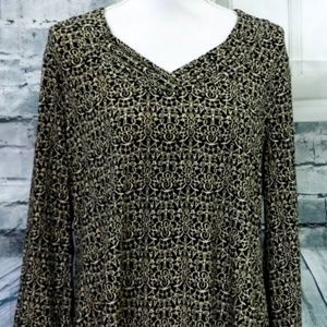 Mercer Street Studio Long Sleeve Print Top Size XL